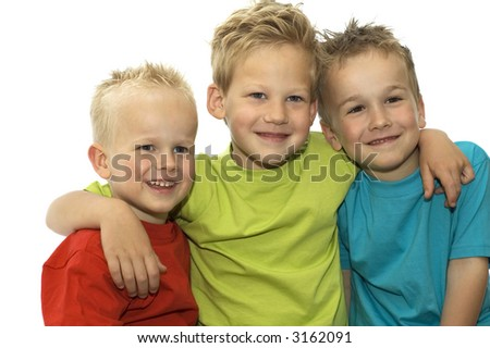 Three friends holding each other, loving and hugging. - stock photo