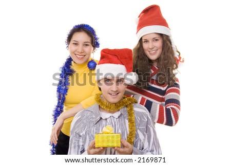 Three friends on christmas - stock photo