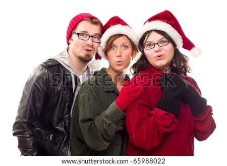 Three Friends Wearing Warm Holiday Attire Isolated on a White Background.