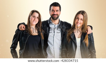Three friends with black leather