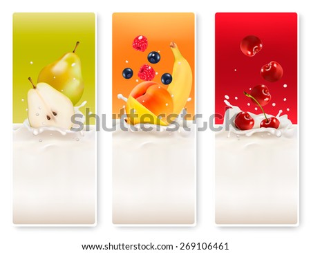 Three fruit and milk labels.  - stock photo
