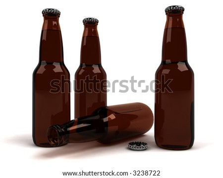 Three full brown beer bottles standing and one empty laying. Quality 3D rendering.