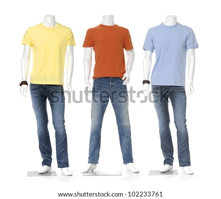Three full length male mannequin dressed in shirt ,isolated - stock photo