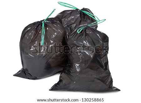 three garbage bags on white background - stock photo