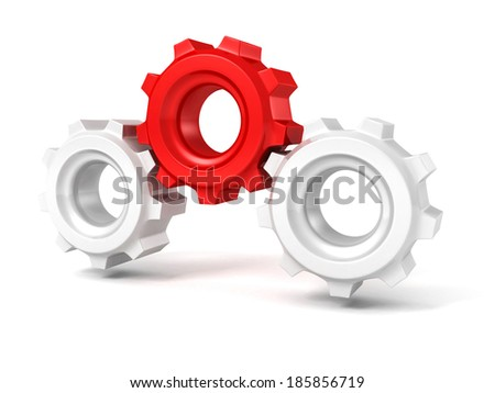 Three gears on white background. Leadership teamwork on individual unique concept 3d render illustration - stock photo