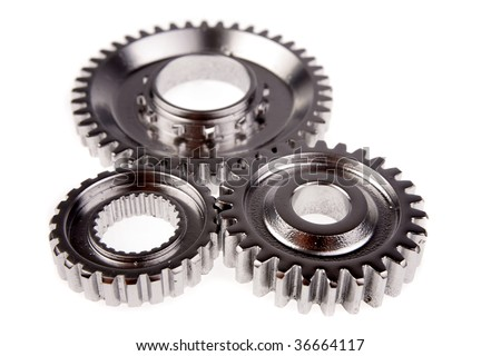 Three gears over white background - stock photo