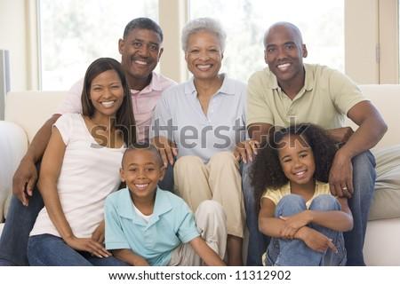 Three Generation Family Group At Home - stock photo
