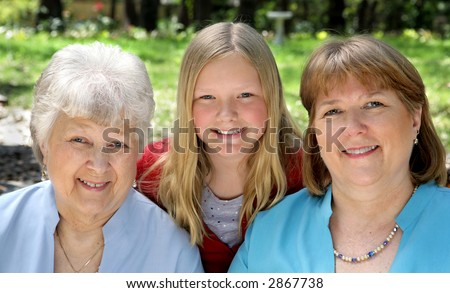 Three generation that look very much a like - a daughter, a mother, and a grandmother.