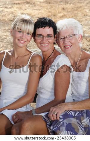 three generations of female beauty - stock photo