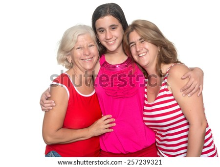 Three generations of hispanic women isolated on a white background - stock photo