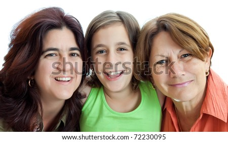 Three generations of latin women isolated on a white background - stock photo