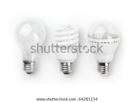 Three generations of light bulbs. Regular incandescent, energy saving fluorescent and LED isolated on white background with clipping path - stock photo