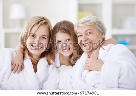 Three generations of women in the home - stock photo
