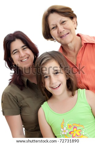 Three generations of women isolated on a white background