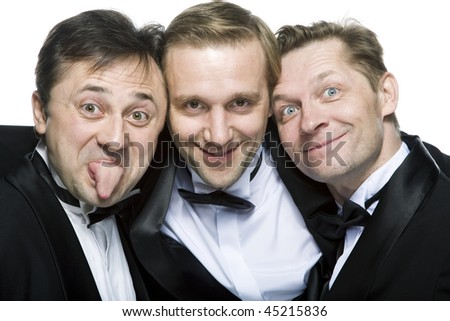Three gentlemen in close-up on a white background - stock photo