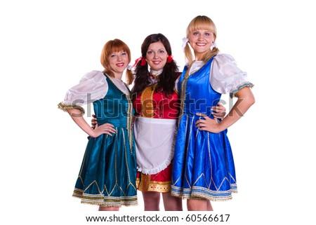 Three  German/Bavarian women - stock photo