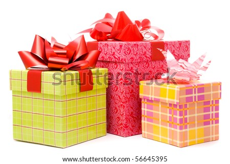 Three gift box studio shot - stock photo