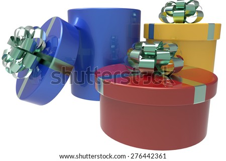 three gift boxes in blue, red and yellow with shiny bow-knots - stock photo