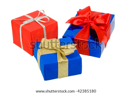 three gift boxes isolated on white with clipping path - stock photo