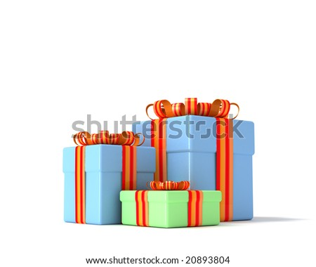 three  gift boxes with  ribbons on a white background - stock photo