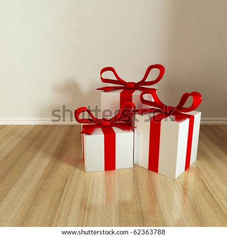 three gift put on floor with reflects - stock photo
