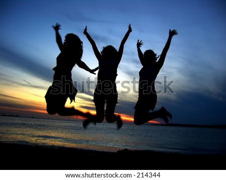 Three Girl friends  celebrating youth - stock photo