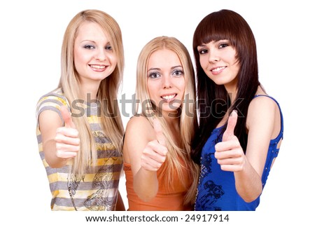 three girlfriends together giving thumbs-up on a white background