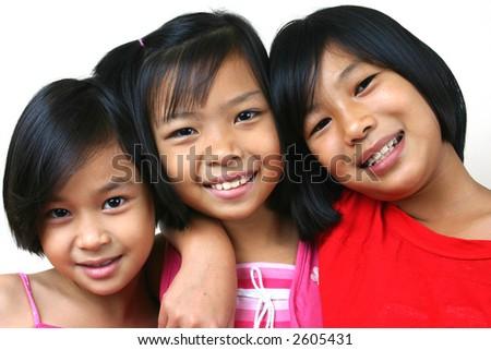 Three girls having good time - stock photo