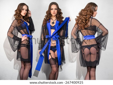 Three girls in a dressing gown and lingerie  - stock photo
