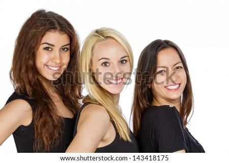 Three Girls in a row with isolated background - stock photo