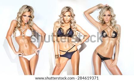 Three girls in bikinis - stock photo