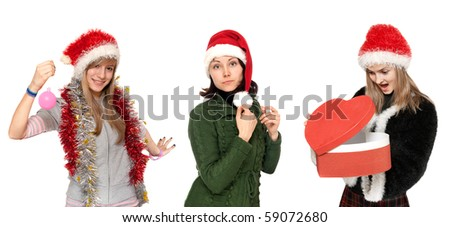 Three girls in cristmas hat with gift on white background