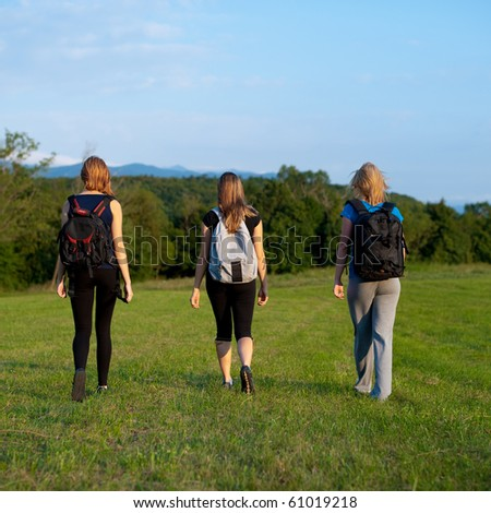 Three girls on a trip