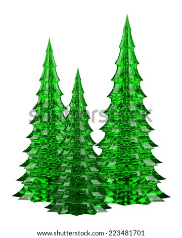three glass christmas trees table decoration isolated on white background - Glass Christmas Trees