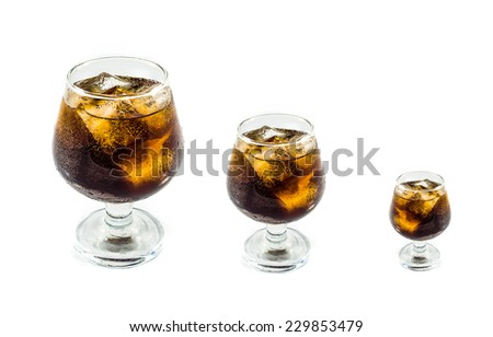 Three glass Cola with ice in  on white background - stock photo
