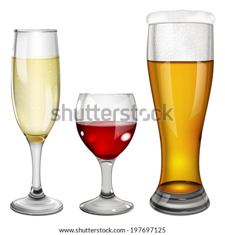 Three glass goblets with wine, champagne and beer. On white background.