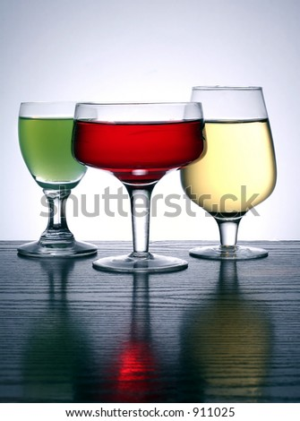 three glass in different colors