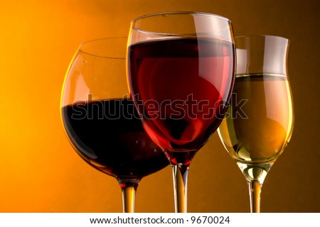 three glass of red, rose and white wine