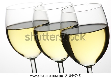 three glass of white wine - stock photo