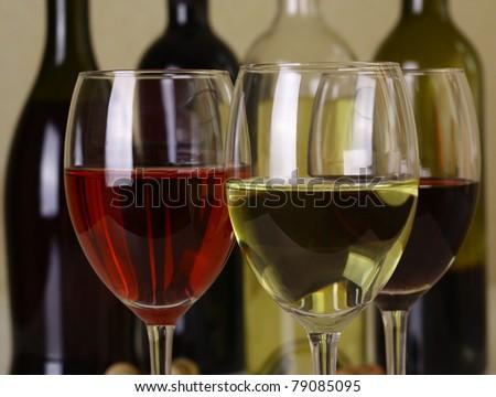 Three glass of wine - stock photo