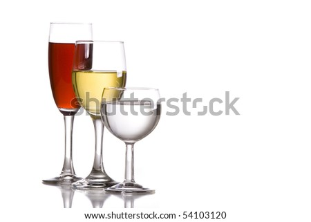 three glass of wine on an isolated white background