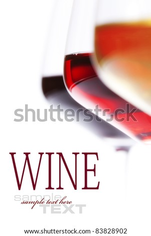Three glass of wine  over white (with sample text) - stock photo