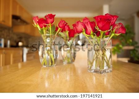 Three Glass Vases Red Roses Sitting Stock Photo Edit Now 197141921