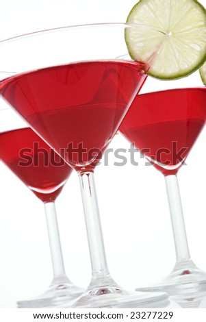 Three glasses of Cosmopolitan Martini with lime slices