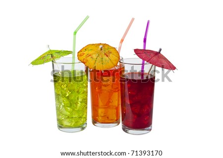 Three Glasses of refreshing iced drinks, with straws and Parasols. Isolated on white.