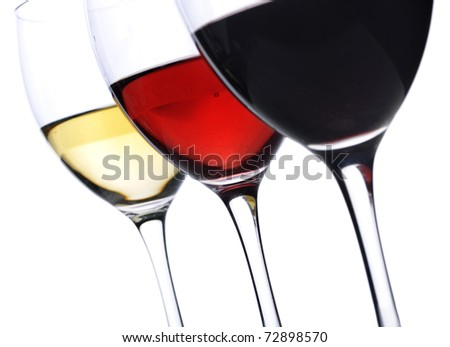 Three glasses of wine isolated over white background