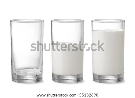 three glasses showing increasing amount of milk