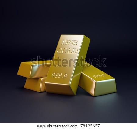 Three gold bars - gold trading - stock photo