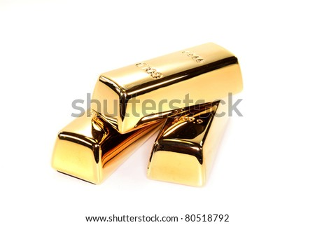three gold bars on a white background - stock photo