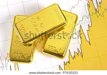 three gold bars on chart - stock photo